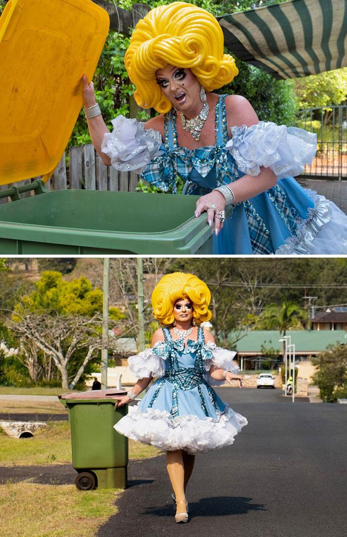 Người Úc tranh thủ mở show diễn thời trang khi ra ngoài đổ rác - Ảnh 11.