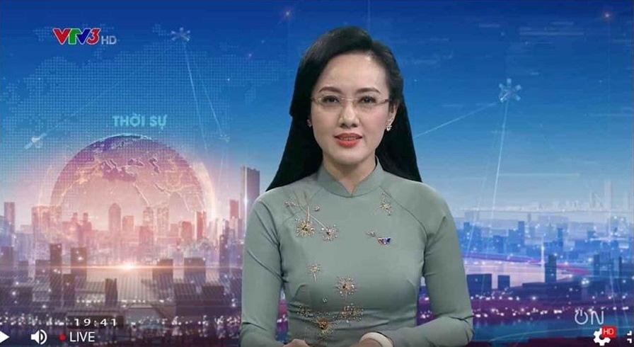 Hình ảnh quen thuộc của BTV Hoài Anh trên sóng truyền hình.