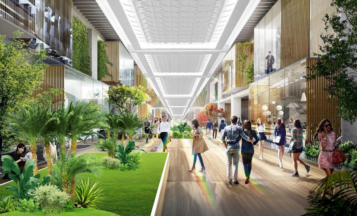 Triển khai tuyến phố đi bộ như trong sân bay Changi giữa lòng toà tháp cao cấp nhất Ecopark - Ảnh 1.