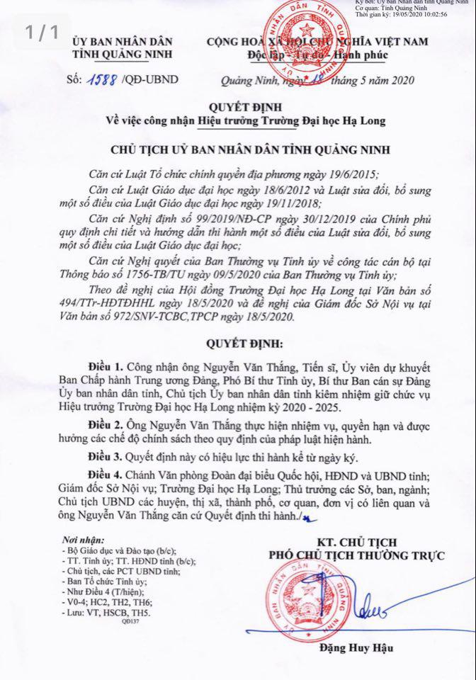 Chủ tịch tỉnh Quảng Ninh Nguyễn Văn Thắng kiêm nhiệm Hiệu trưởng trường Đại học - Ảnh 1.