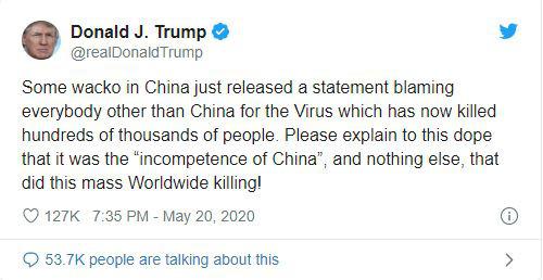 COVID-19: Tổng thống Trump chê Trung Quốc bất tài, khiến hàng loạt người tử vong - Ảnh 1.