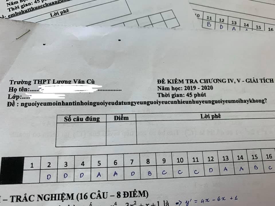 Nhìn vào mã đề bài kiểm tra toán 1 tiết, cả lớp cười ngất vì độ bắt trend của thầy quá nhanh và quá đỉnh - Ảnh 2.