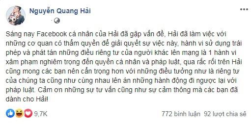 Luật sư nhận định án phạt cho kẻ hack facebook & làm lộ bí mật đời tư Quang Hải - Ảnh 1.
