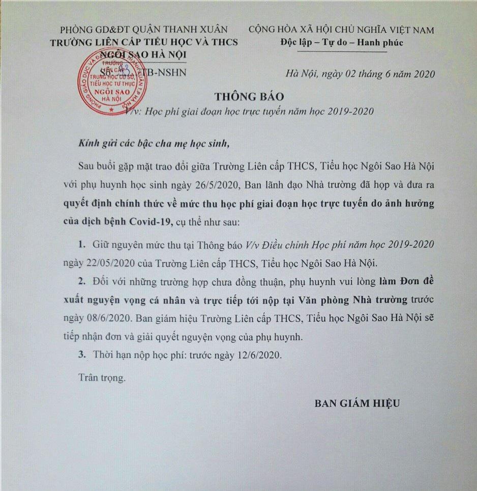 Trường Ngôi Sao Hà Nội thu học phí online dịp Covid19: Ban giám hiệu ra thông báo giữ nguyên, không điều chỉnh - Ảnh 1.