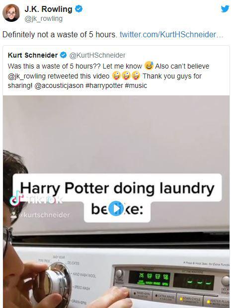 TikToker tạo ra bản nhạc kinh điển trong Harry Potter chỉ với 1 chiếc máy giặt, được nhà văn J. K Rowling đích thân khen ngợi - Ảnh 3.