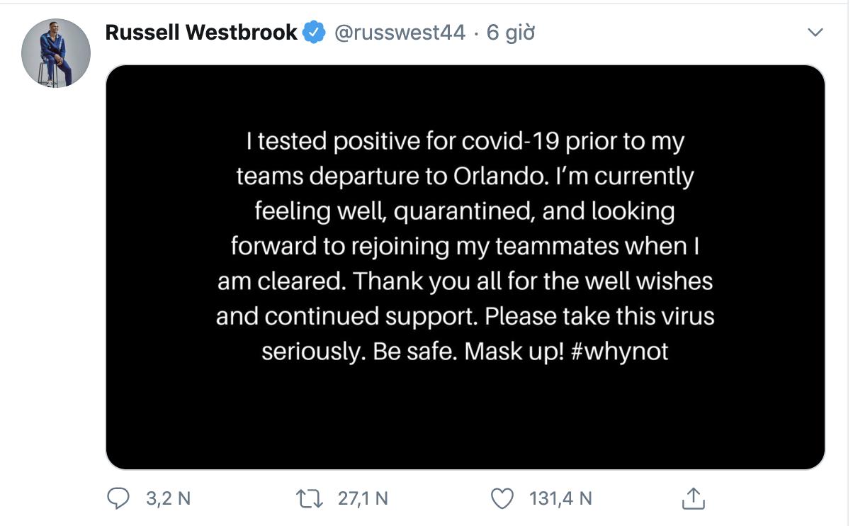 NÓNG: Russell Westbrook xác nhận dương tính Covid-19 - Ảnh 1.