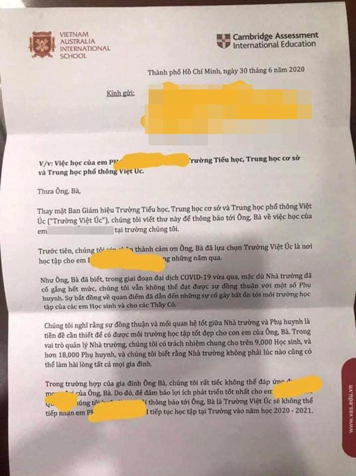 """Vụ phụ huynh sốc nặng khi nhận thư """"không thể tiếp tục tiếp nhận"""" học sinh, trường Quốc tế Việt Úc chính thức phản hồi - Ảnh 1."""
