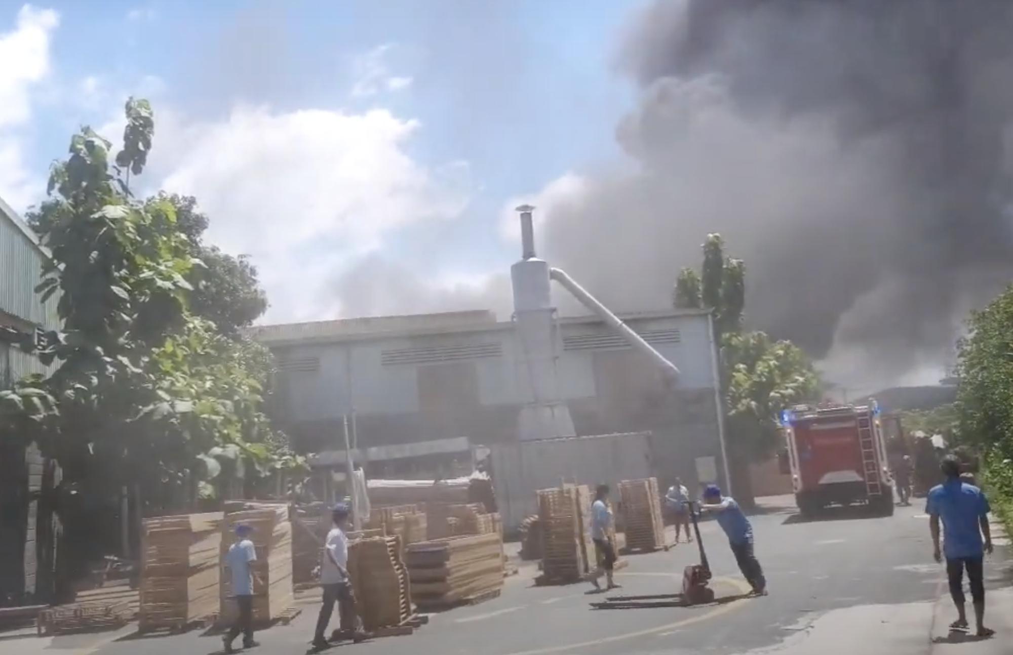 Công ty gỗ ở Bình Dương cháy dữ dội, nhiều người vô tư đến sát hiện trường... livestream dưới dòng điện cao thế - Ảnh 2.