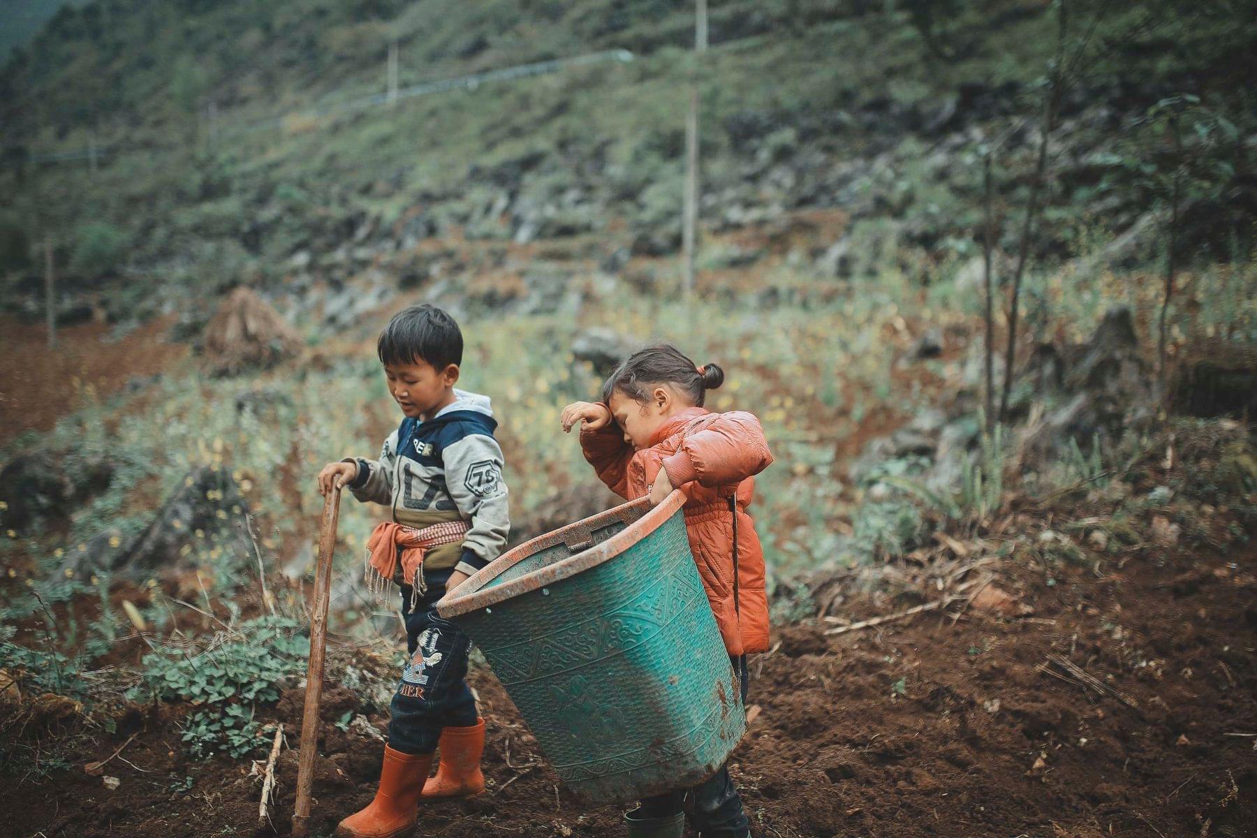 2 bé HMông cặm cụi cuốc đất, gieo hạt phụ bố mẹ và nụ cười khiến bao người tan chảy - Ảnh 3.