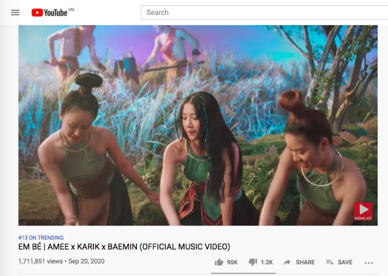 """Top 10 trending MV của Karik và Amee khiến dân tình hú nhau là """"Em Bé"""" - Ảnh 1."""