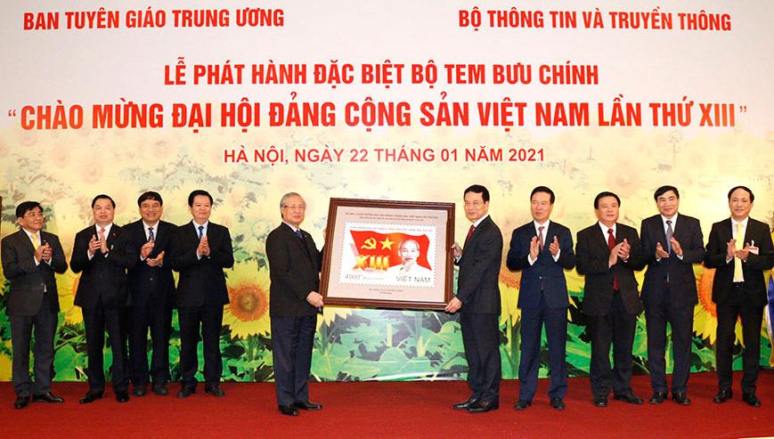 Phát hành bộ tem đặc biệt chào mừng Đại hội XIII của Đảng - Ảnh 1.