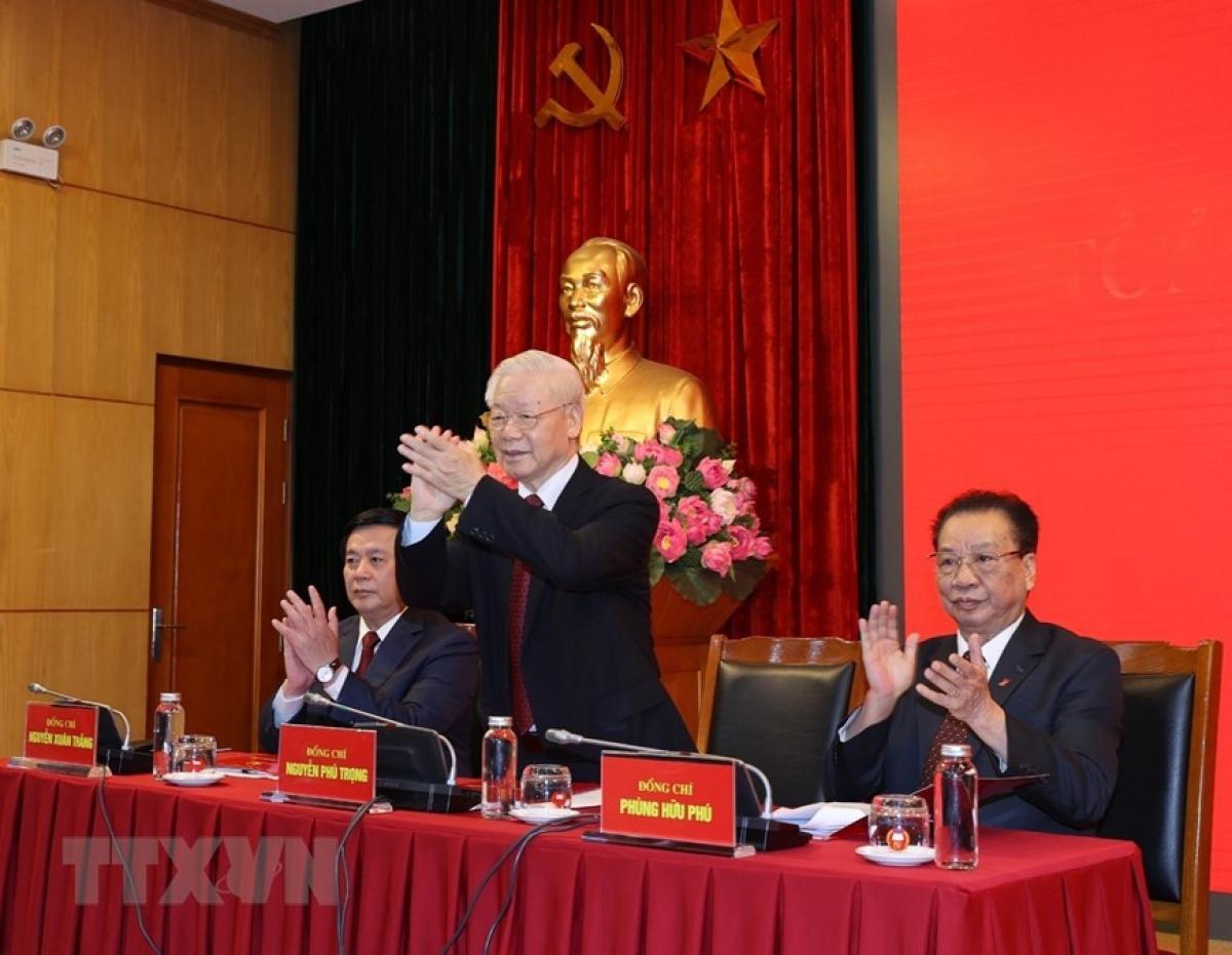 Tổng Bí thư Nguyễn Phú Trọng dự Hội nghị Tổng kết nhiệm kỳ 2016-2021 Hội đồng Lý luận Trung ương - Ảnh 1.