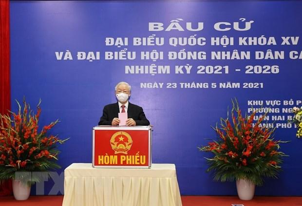 Tổng Bí thư tham gia bỏ phiếu- thực hiện quyền bầu cử - Ảnh 4.