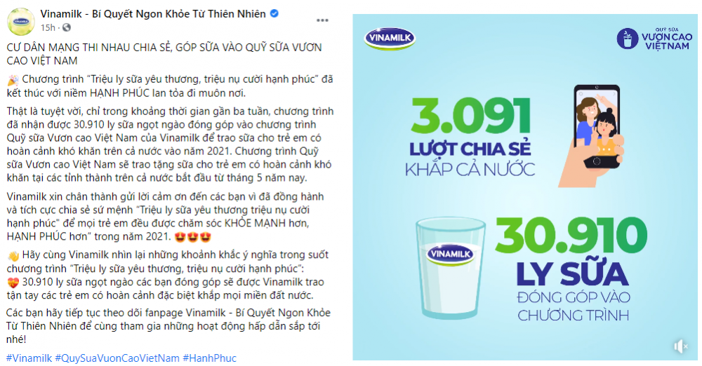 Quỹ sữa Vươn cao Việt Nam 2021 của Vinamilk sẽ có thêm 31.000 ly sữa từ sự tham gia của cộng đồng - Ảnh 1.