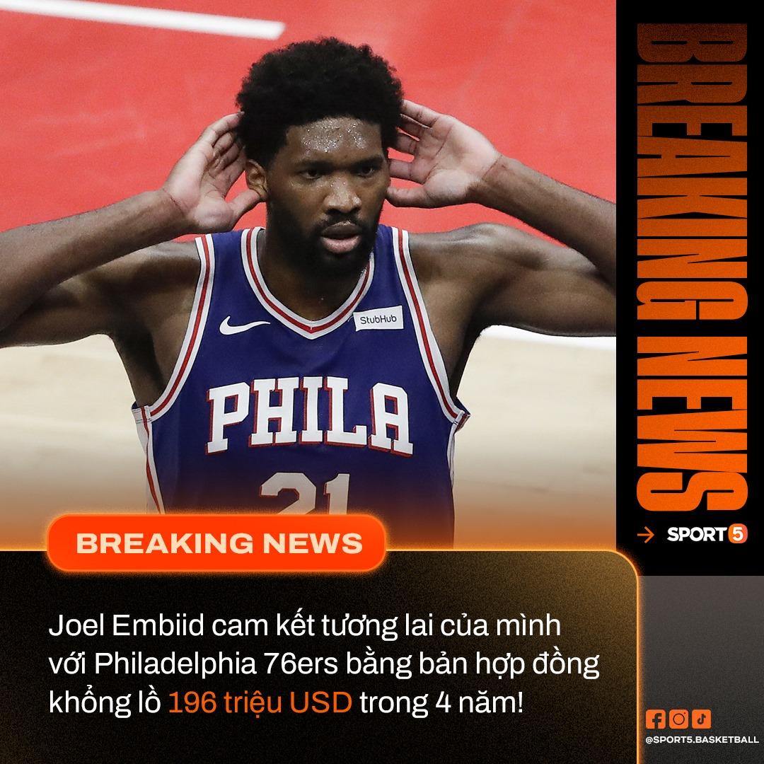 """Philadelphia 76ers trói chân Joel Embiid bằng bản hợp đồng """"siêu tối đa"""" - Ảnh 1."""