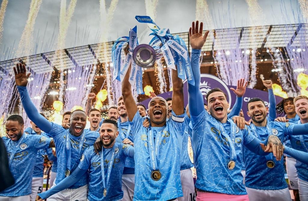 Manchester City celebrate the Premier League title 2020/21