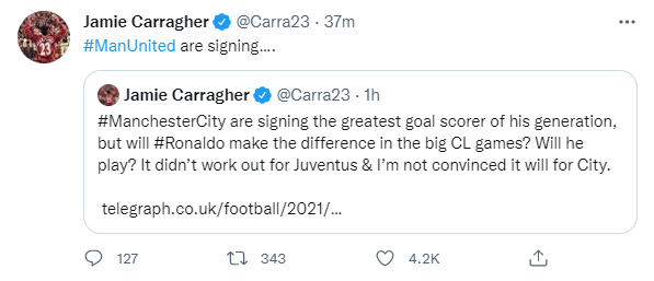 Carragher nhầm chút thôi mà...