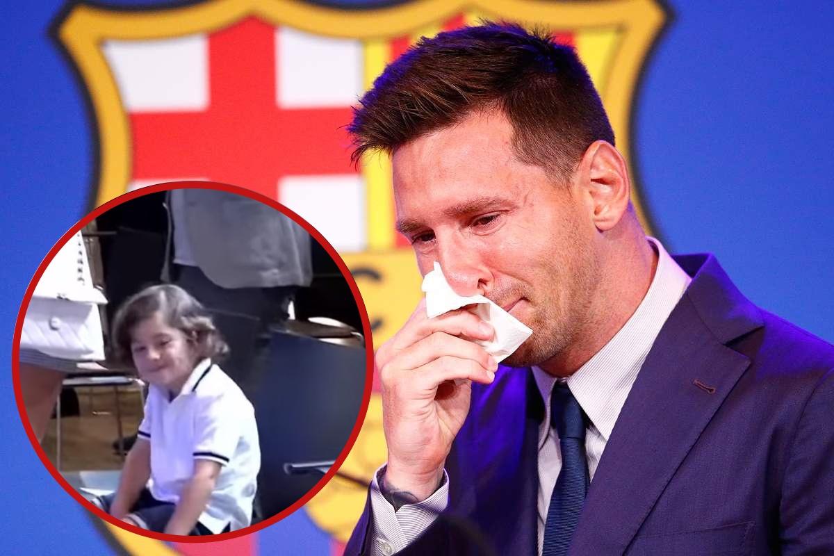 Thấy bố khóc, cậu út nhà Messi ngồi rung đùi cười tủm tỉm, tiếp nối truyền thống cà khịa trứ danh của 2 anh trai: Người là fan CR7, người lại anti Barca ra mặt - Ảnh 1.