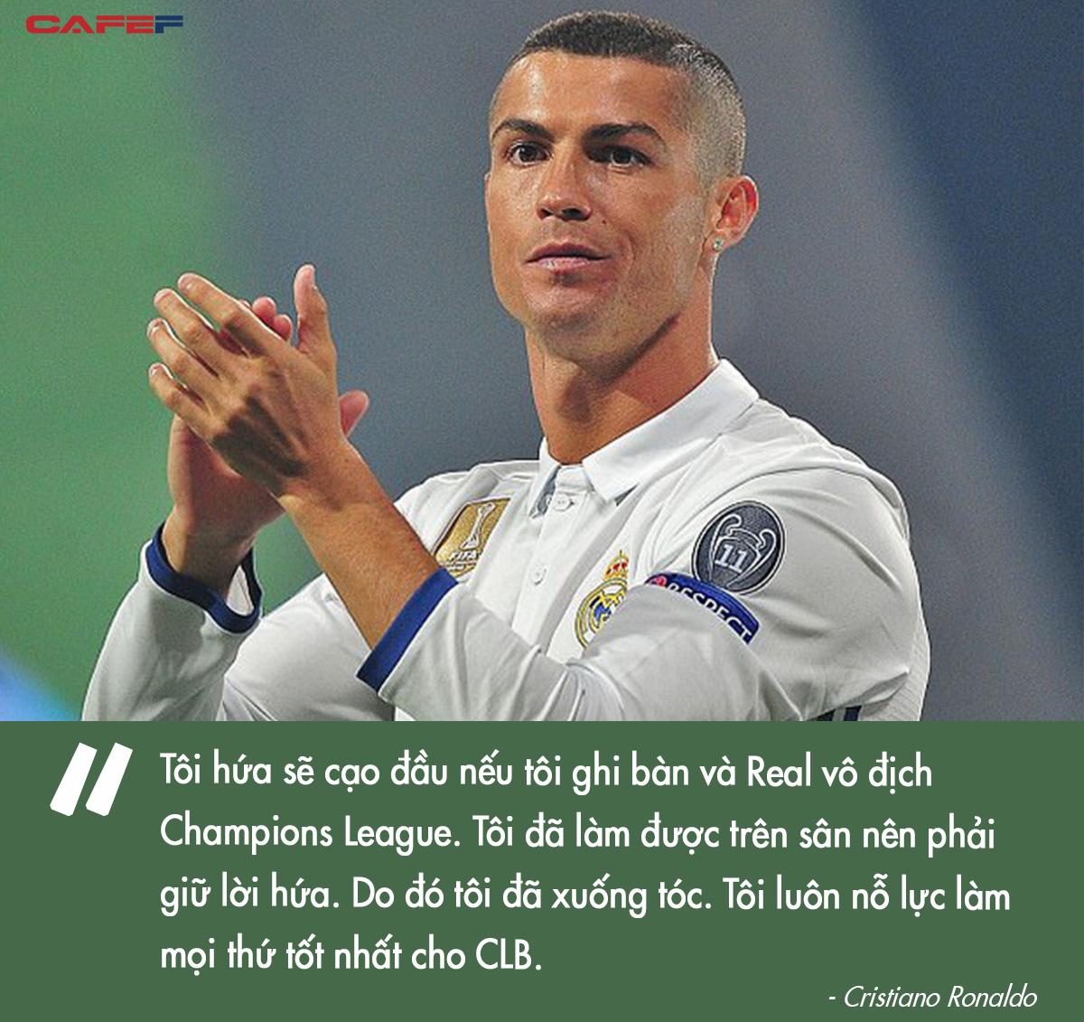 Đàn ông bản lĩnh phải quân tử nhất ngôn như Ronaldo, đã nói là làm: Thề không bao giờ gia nhập Man City, dám cạo đầu nếu vô địch, hứa ghi bàn tặng fan nhí ung thư - Ảnh 4.