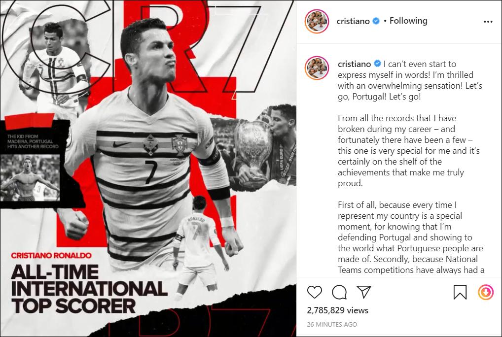 """Ronaldo viết """"tâm thư"""" xúc động sau khi trở thành chân sút vĩ đại nhất cấp ĐTQG - Ảnh 1."""