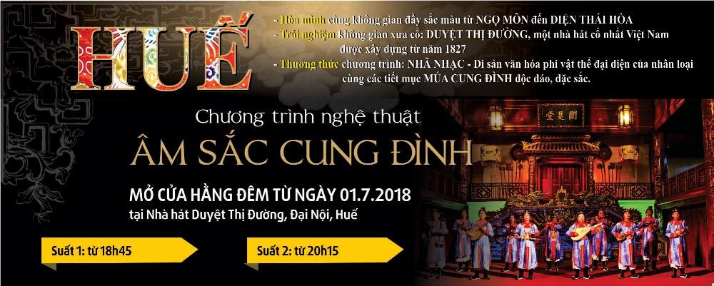 """Chương trình """"Âm sắc cung đình"""" sẽ bắt đầu từ 1/7/2018 tại Nhà hát Duyệt  thị Đường, Đại Nội, Huế. Nguồn: BTC"""