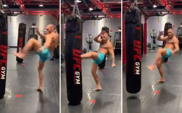 Conor McGregor khoe sức mạnh trong phòng gym trước ngày đại chiến cùng Dustin Poirier