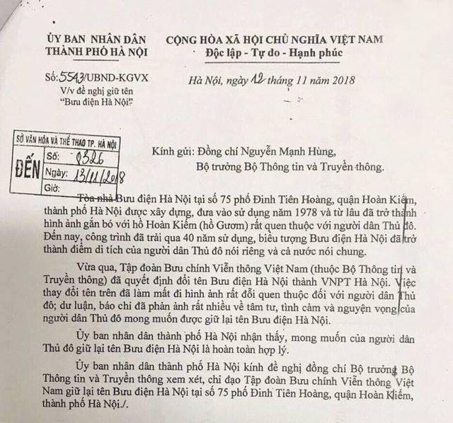 Chủ tịch UBND TP. Hà Nội Nguyễn Đức Chung chính thức có văn bản đề nghị giữ lại tên Bưu điện Hà Nội - Ảnh 2.