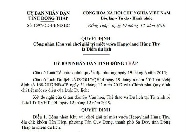 Khu vui chơi giải trí miệt vườn Happyland Hùng Thy được công nhận là Điểm du lịch - Ảnh 1.