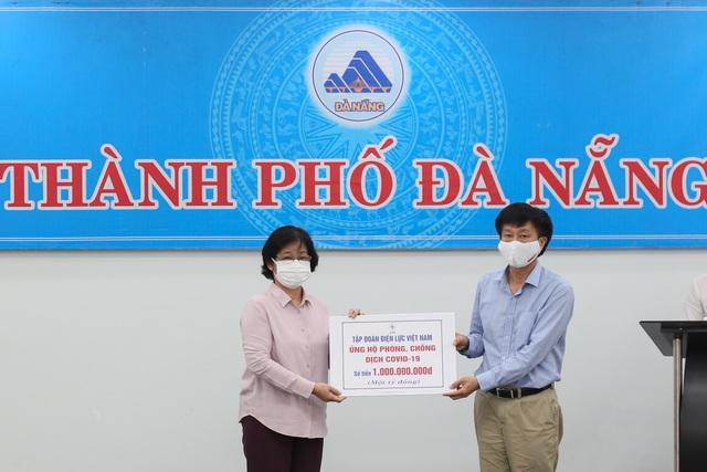 EVN và EVNCPC trao 1,5 tỷ đồng hỗ trợ công tác phòng chống dịch Covid-19 tại Đà Nẵng - Ảnh 1.