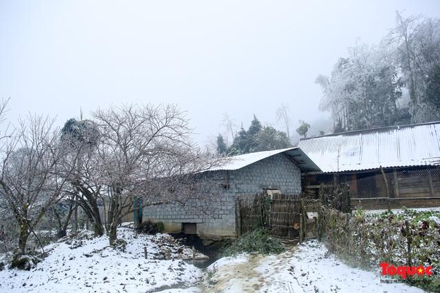 Cận cảnh băng tuyết phủ trắng các triền nùi ở Y Tý - Ảnh 3.