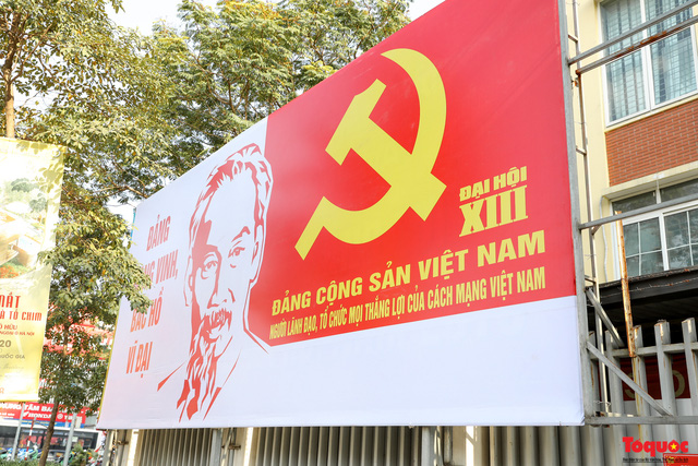 Đường phố Hà Nội trang trí rực rỡ chào mừng Đại hội đại biểu toàn quốc lần thứ XIII của Đảng - Ảnh 5.