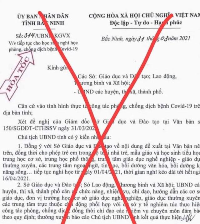 Công an điều tra thông tin giả mạo cho học sinh Bắc Ninh nghỉ học - Ảnh 1.