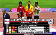 Clip: Quách Thị Lan vượt mặt các đối thủ, đoạt Huy chương Vàng điền kinh châu Á