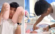 """Những khoảnh khắc đầu tiên khi làm bố của Phan Văn Đức: Hạnh phúc, rạng rỡ nhưng cũng lúng túng khi lần đầu chăm sóc """"thiên thần nhỏ"""""""