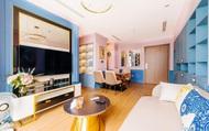 Căn hộ 45m² đẹp không góc chết với điểm nhấn là hai gam màu xanh hồng cực chất có chi phí hoàn thiện 200 triệu đồng ở Hà Nội