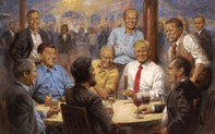 """Cư dân mạng náo loạn vì bức tranh Tổng thống Trump """"xuyên không"""""""