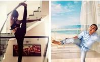 """Tư thế """"khó đỡ"""" của Quyền Linh khi bắt chước bà xã tập Yoga"""