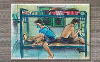 Du học sinh Anh vẽ tranh về cuộc sống của mình ở nơi cách ly, khoe được y bác sĩ chăm sóc tận tình từ bữa ăn tới giấc ngủ