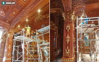 Hé lộ 1 góc nội thất lâu đài của đại gia Hà Nội, chỉ phần ốp gỗ mạ vàng đã thấy choáng ngợp