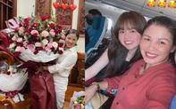 """Huỳnh Anh tặng mẹ Quang Hải bó hoa """"siêu to khổng lồ"""" dịp sinh nhật"""