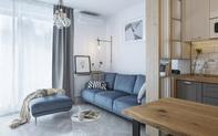 Sự pha trộn màu sắc ấn tượng với 3 gam màu: Xanh dương, vàng và xám trong một căn hộ hiện đại