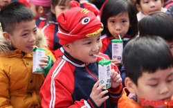 Sau nhiều âu lo, tranh cãi, những hộp sữa học đường đầu tiên đã tới tay học sinh Hà Nội