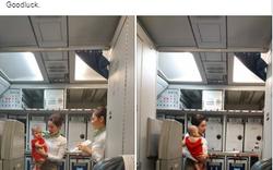 Cộng đồng mạng tan chảy với hình ảnh tiếp viên Bamboo dỗ trẻ giúp mẹ bị mệt trên khoang máy bay