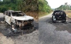 Nghệ An: Ô tô bán tải bốc cháy dữ dội khi lưu thông quốc lộ