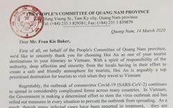 Chủ tịch tỉnh Quảng Nam gửi thư đến các du khách nước ngoài đang bị cách ly