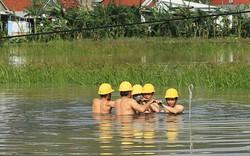 Xúc động hình ảnh công nhân ngâm mình trong nước khôi phục điện