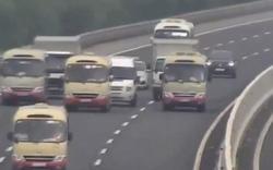 Coi cao tốc như đường nhà mình, 3 xe khách ngang nhiên dàn hàng ngang trên cao tốc Hà Nội – Hải Phòng